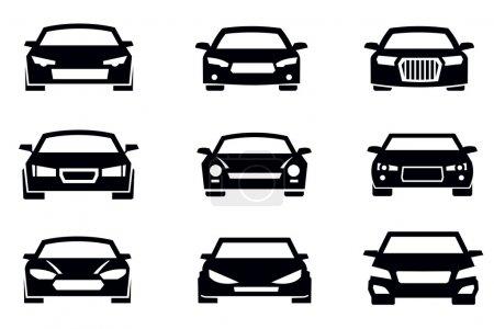 Illustration pour Symboles de voiture vectoriels noir mis icône blanche - image libre de droit