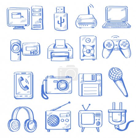 Illustration for Vector hand draw electronic icon set on white - Royalty Free Image