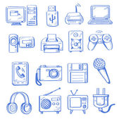 Vector hand draw electronic icon set on white