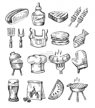 Illustration for Vector hand draw barbecue icon set on white - Royalty Free Image