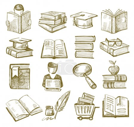 Illustration for Vector hand draw books icons set on white - Royalty Free Image