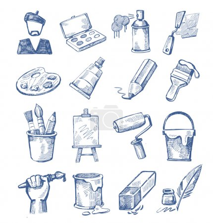 Illustration for Vector hand drawn art icons set on white - Royalty Free Image