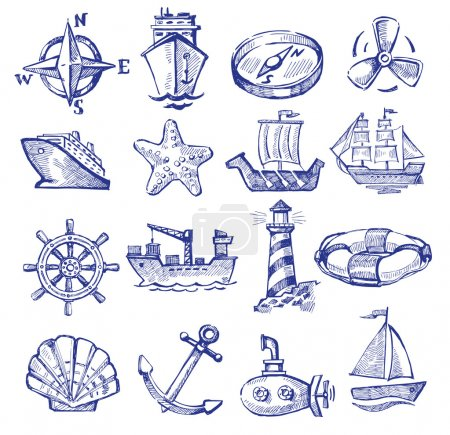 Illustration for Vector hand drawn boat and ship icons set on white - Royalty Free Image