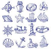 Hand drawn boat and ship