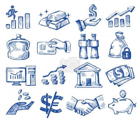 Illustration pour Vecteur argent dessiné à la main et icônes d'affaires mis sur blanc - image libre de droit