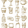 Vector hand drawn beverages icons set on white...