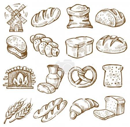 Illustration pour Icônes de pain dessinées à la main vectorielles sur blanc - image libre de droit