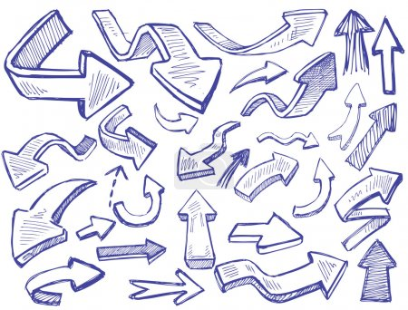 Illustration for Vector hand drawn arrows icons set on white - Royalty Free Image