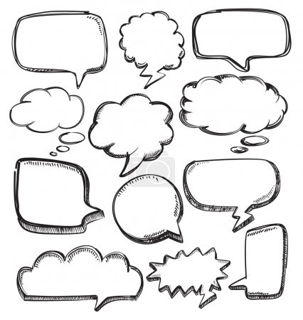 Illustration for Vector hand drawn speech bubbles on white - Royalty Free Image