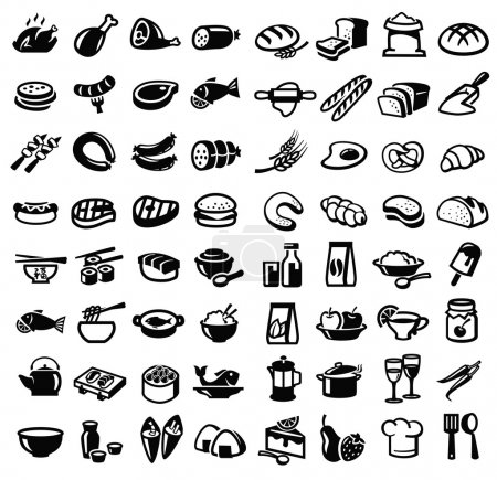 Illustration for Vector black food icon set on white - Royalty Free Image