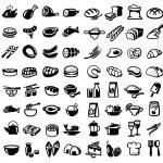 Vector black food icon set on white...