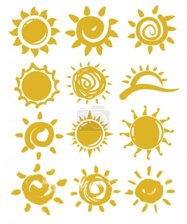 Illustration for Vector hand drawn sun on white background - Royalty Free Image