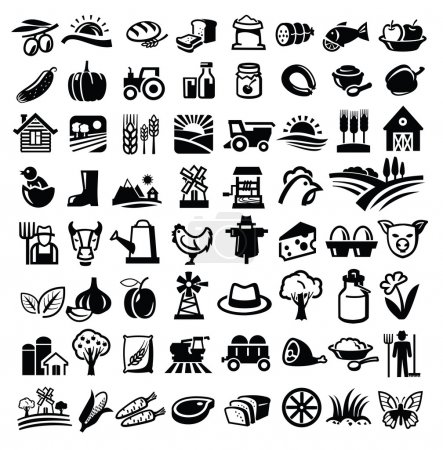 Illustration for Vector black farm icon set on white - Royalty Free Image