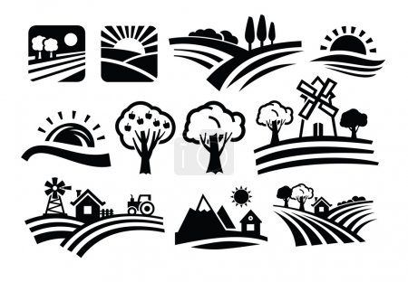 Illustration for Vector black nature icons set on white - Royalty Free Image