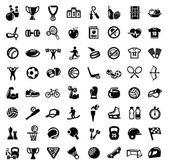 Vector black sport icons set on white