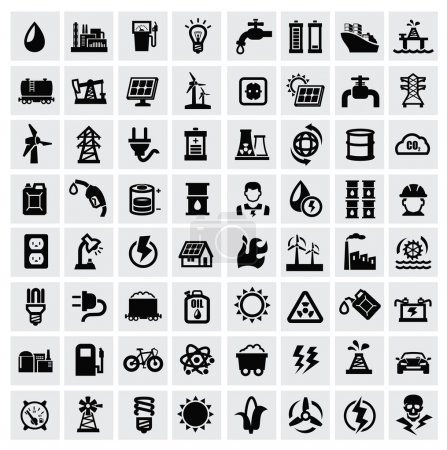 Photo for Vector black energy icons set on gray - Royalty Free Image