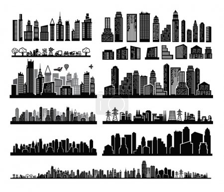 Illustration pour Icônes vectorielles de la ville noire sur blanc - image libre de droit