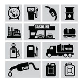 Vector black oil and petrol icons set on gray