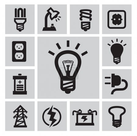 Illustration for Vector black bulbs icons set on gray - Royalty Free Image