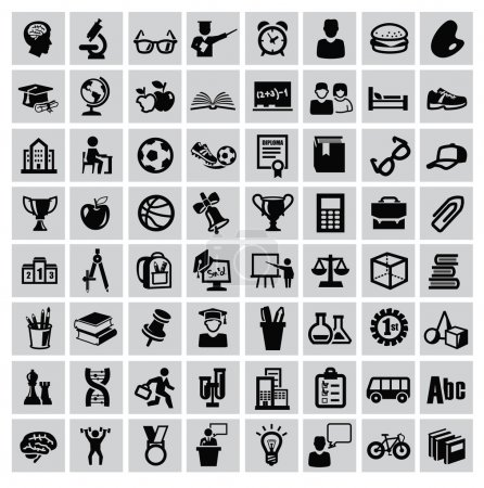 Illustration for Vector black education icons set on gray - Royalty Free Image