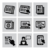 Vector black newspaper icons set on gray