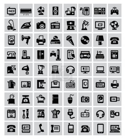 Photo for Big set of electronic devices on gray - Royalty Free Image