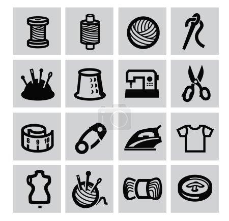 Illustration pour Icône d'équipement de couture noire vectorielle sur gris - image libre de droit