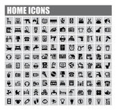 Vector black home icons set on gray