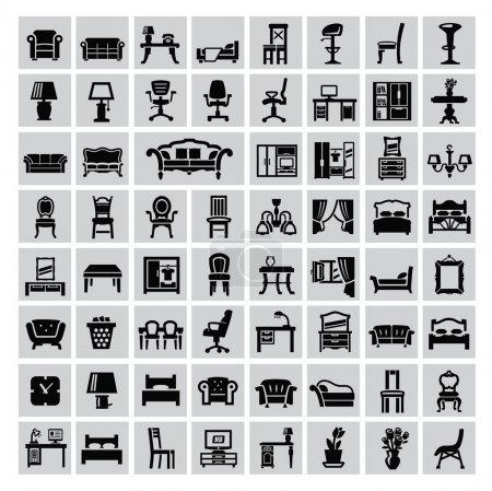 Photo pour Vecteur icône de meubles de maison noir mis sur gris - image libre de droit