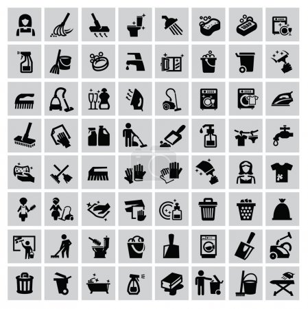 Illustration for Vector black cleaning icons set on gray - Royalty Free Image