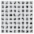 Vector black cleaning icons set on gray...