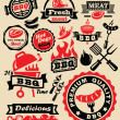 Vector color barbecue grill party icons set...
