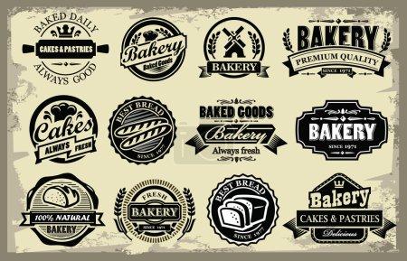 Illustration pour Étiquettes de boulangerie biologique vectorielles sur grunge - image libre de droit
