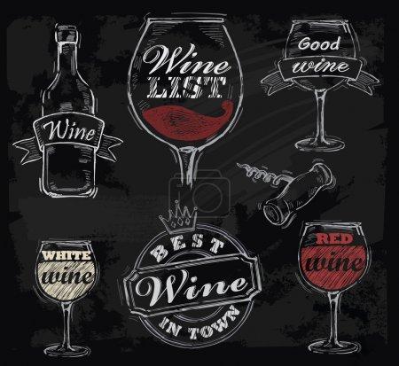Illustration pour Vin vectoriel à la craie sur fond de tableau - image libre de droit