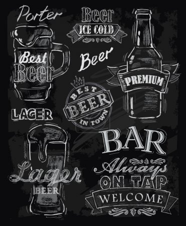 Photo for Vector chalk beer on chalkboard background - Royalty Free Image