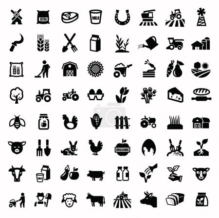 Illustration for Vector black agriculture and farming icons set - Royalty Free Image