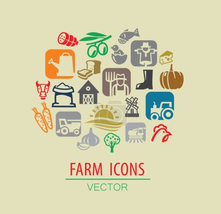Illustration for Vector color farm icon set on beige - Royalty Free Image