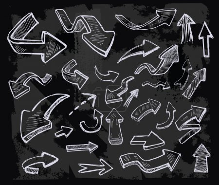 Illustration for Vector hand drawn arrows icons set on chalkboard - Royalty Free Image