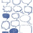 Vector hand drawn speech bubbles on white...