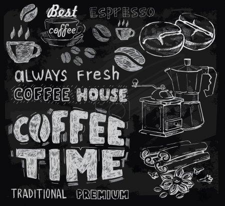 Illustration pour Café vectoriel à la craie sur fond de tableau - image libre de droit
