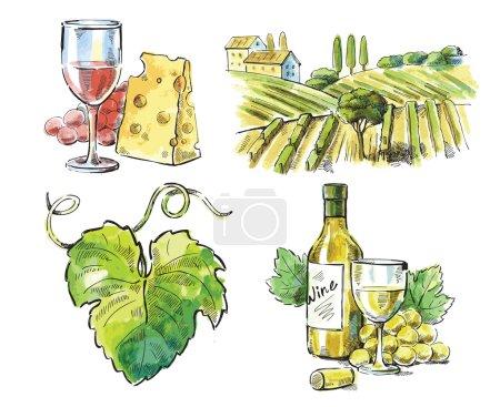 Illustration pour Vin vectoriel dessiné à la main sur blanc - image libre de droit