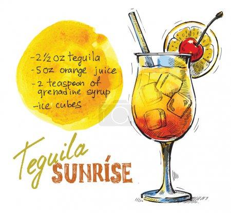 Illustration pour Image vectorielle dessinée à la main du verre de lever de soleil tequila - image libre de droit