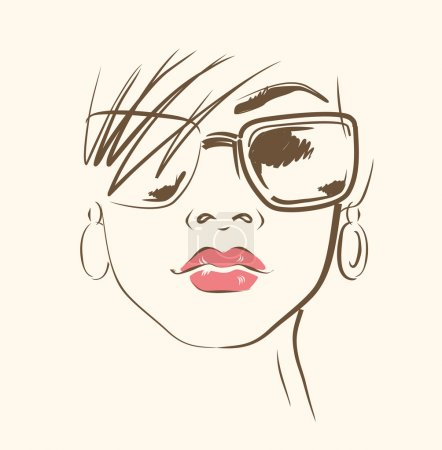 Vector face in glasses