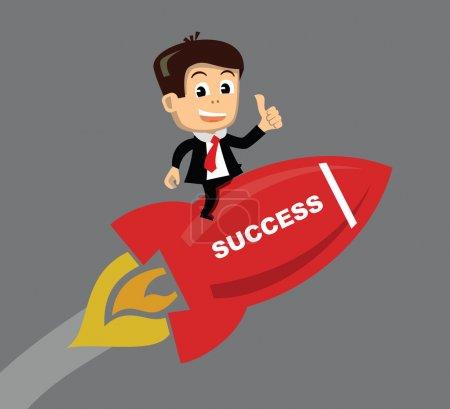 Illustration for Vector businessman flying on the rocket - Royalty Free Image