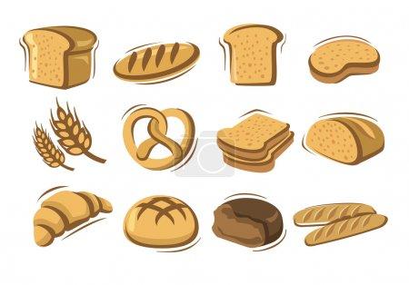 Illustration pour Icônes de pain vectoriel mis sur blanc - image libre de droit