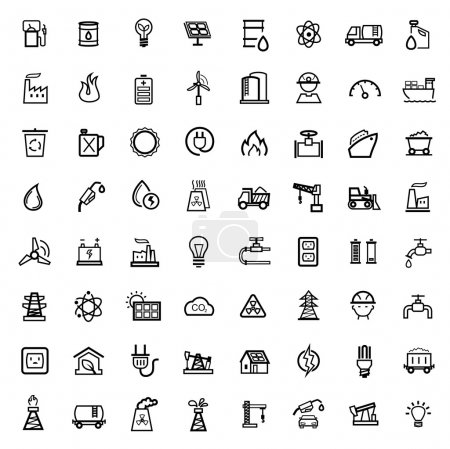 Photo for Vector black energy icons set - Royalty Free Image