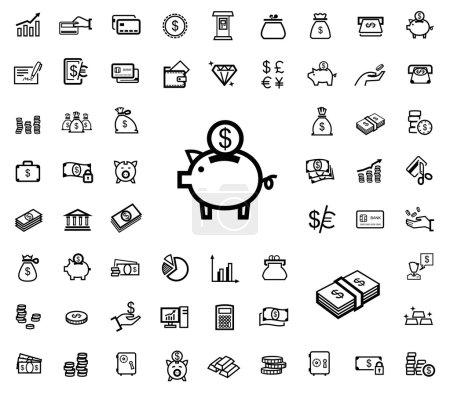 Illustration pour Vecteur noir icônes d'affaires - image libre de droit
