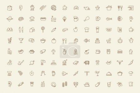 Illustration pour Ensemble d'icônes vectorielles noir nourriture et repas - image libre de droit