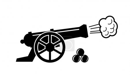 Vector black old cannon icon on white...