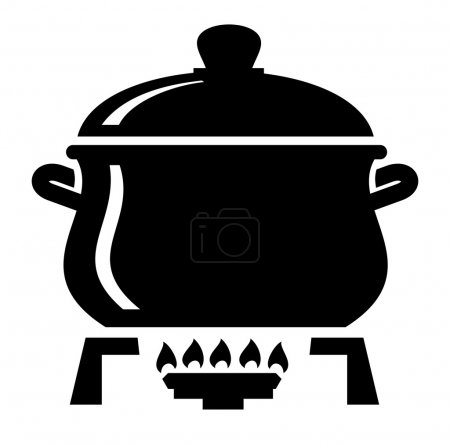Illustration for Vector black cooking pan cake on white - Royalty Free Image